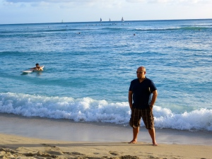 My hubby taking in Waikiki Beach...where are those eyes looking?! :)