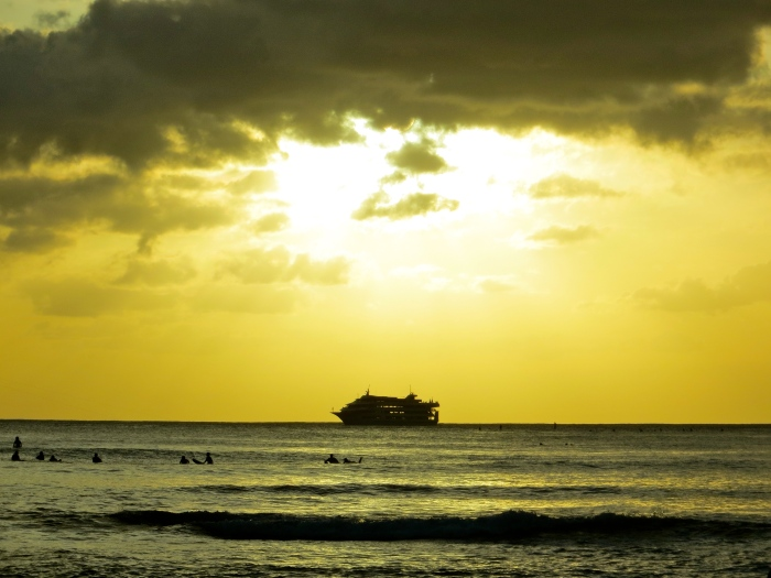 Star of Honolulu Dinner Cruise @ Waikiki Beach...no quite the cruise ship that I lived on but it brought back memories none-the-less.