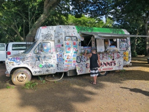 The North Shore is known for their shrimp trucks and we stopped for lunch at the originals:  Giovanni's Shrimp Truck, Haleiwa, Hawaii.