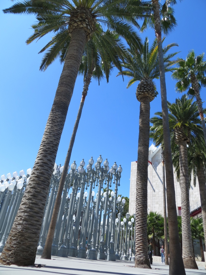 "At the LACMA entrance is the assemblage sculpture called ""Urban Lights"" consisting of 202 restored street lamps from the 1920s and 1930s. Most of them once lit the streets of Southern California."