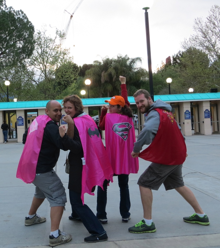 The superhero capes that the guys won for our nieces and nephew, playing carnival games at Six Flags.  How sweet :)