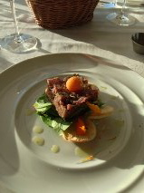 Veal Tenderloin Tartar at Peakfine Restaurant at The Sparkling Hill Resort