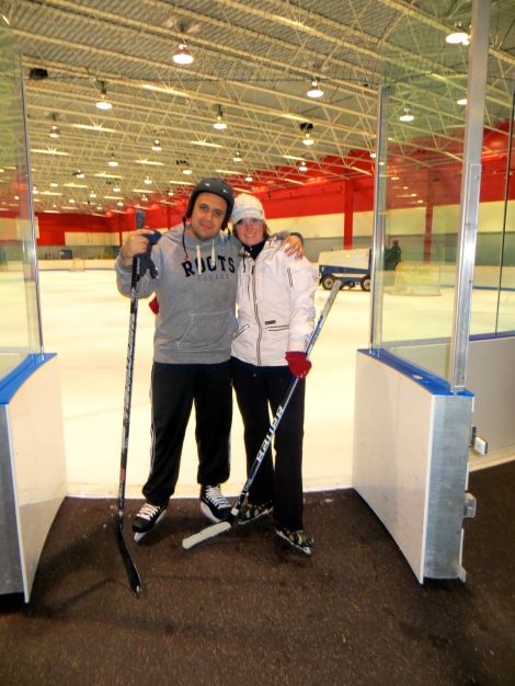 "Our first time ""playing hockey"" on ice."