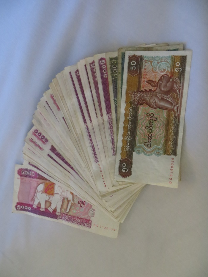 A stack of Kyats, Myanmar's local currency.