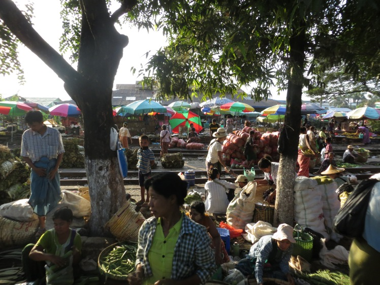A market near a stop on the Circular Train in Yangon, Myanmar