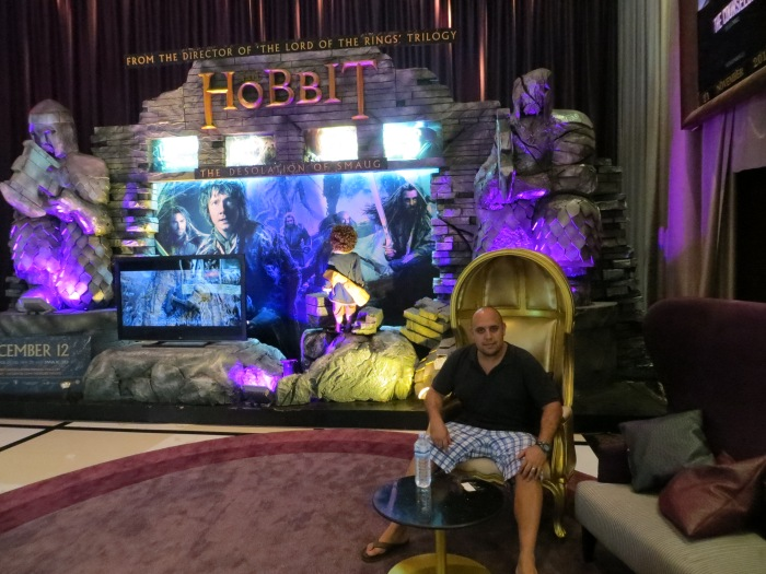 """The movie theatres in Bangkok have way more elaborate Coming Soon movie """"posters"""" such as this Hobbit display with throne and all."""