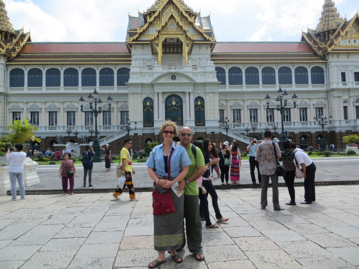 This is the Grand Palace where I am sporting a lovely blue shirt and green sarong that complements Armando's khaki pants, all clothing wear courtesy of the Grand Palace.