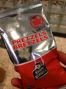 And of course, a package of butter-flavoured pretzels, courtesy of Air Canada.