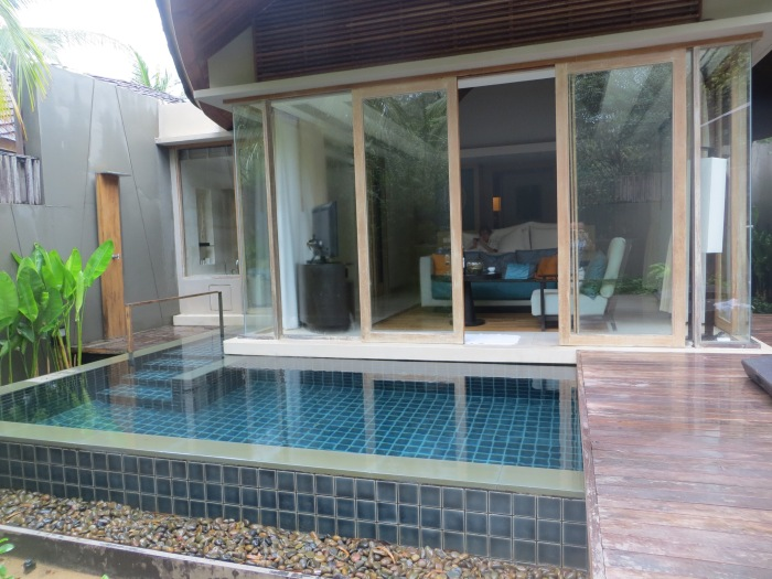 There was even an outdoor shower as well as an indoor shower that was fully surrounded by floor-to-ceiling windows with high fences surrounding the villa for privacy.