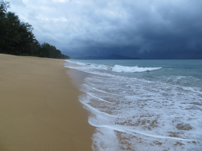 Stormy clouds didn't prevent us from getting out and enjoying the beautiful Mai Khao Beach at the resort.  We even swam in the waves with those clouds above us as it started to downpour.  Was scary and fun, all at the same time.