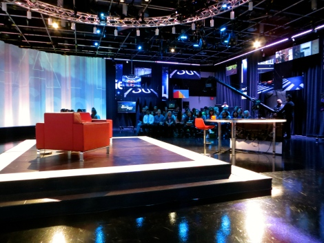 The famous red chairs at Studio 43 for the George Stroumboulopoulos show.