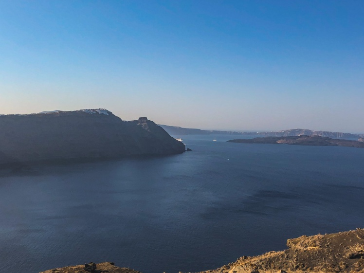 A view of Imerovigli, Santorini in the early morning.