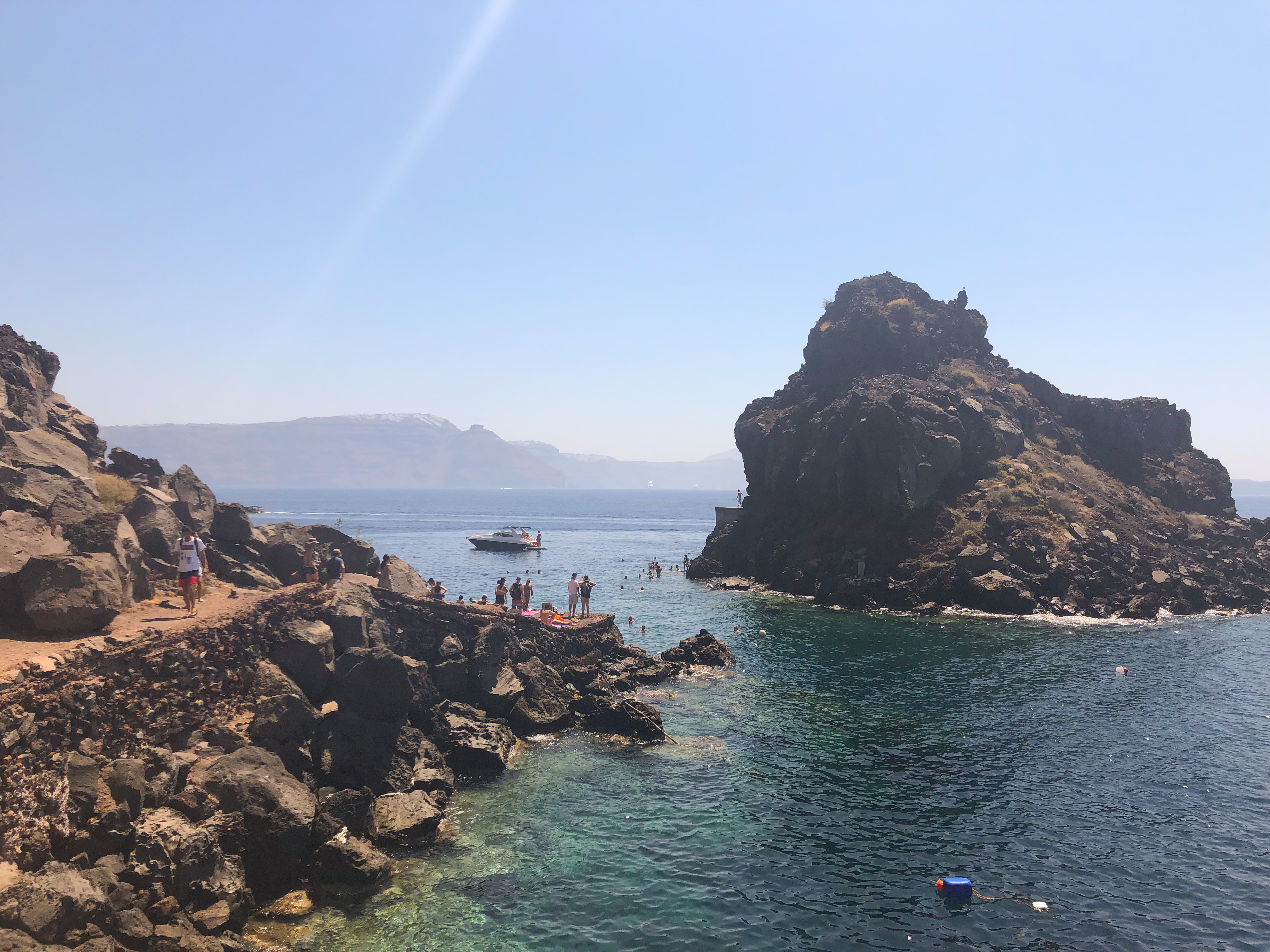 Swimming location at Amoudi Bay, Santorini.